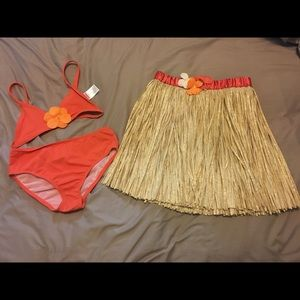 Toddler Girls Luau Swimsuit and Skirt